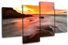 Waves Orange Sunset Seascape - 13-0177(00B)-MP04-LO